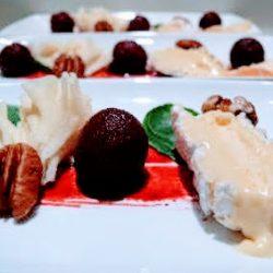 Kaas dessert met rode biet
