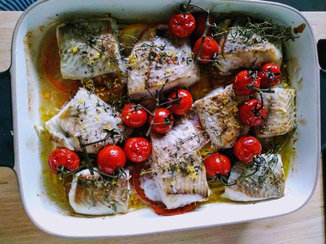 Heerlijke zomerse visschotel uit de oven