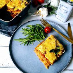 Vegetarische groentelasagne met linzenbolognaise