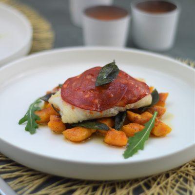 kabeljauw met chorizo en zoete aardappel gnocchi