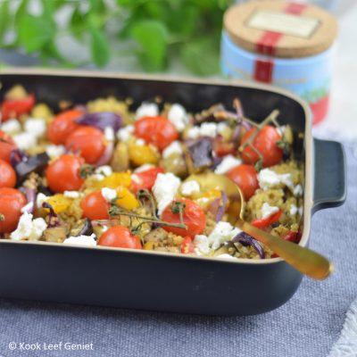 Geroosterde groenten met quinoa en feta