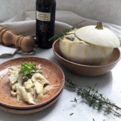 Gevulde patisson met kip en paddenstoelen
